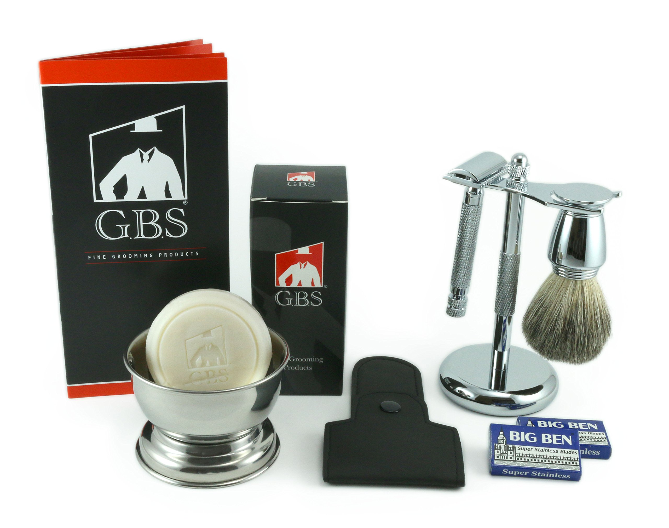 Men's Chrome Grooming Set With, Our Most Advanced De Razor Shaving Mug, 100% Pure Badger Brush, Brush and Razor Stand, Leather Case and 97% All Natural Gbs Ocean Driftwood Shave Soap