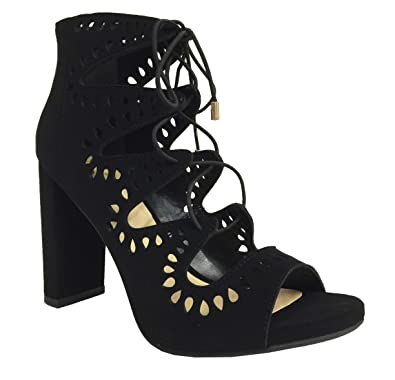 6ef721768d2 Delicious Teller! Women's Cut Out Lace Up Peep Toe Chunky High Heel Sandals