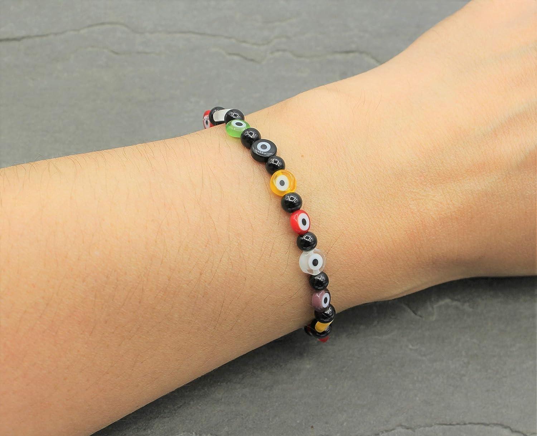 Blaues Auge Perlen Armband Bunt Perlenarmband Boho Hippie Gl/ück und Schutz Handmade Schmuck