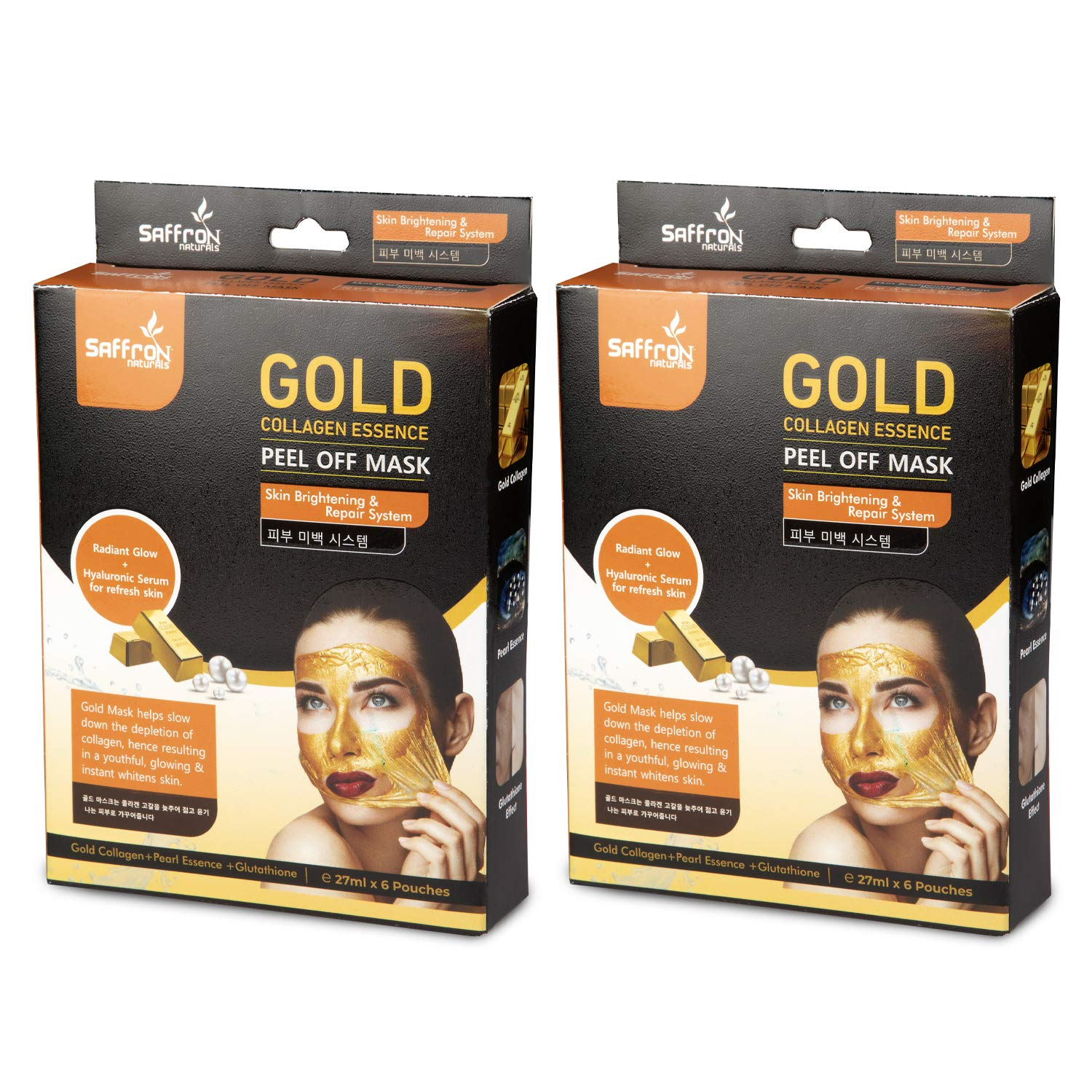 Saffron Naturals Collagen Essence Gold Peel off Mask Lightens Skin Tones Produce Naturally Glowing Skin (27ml x 6 Pouch, Pack of 2)