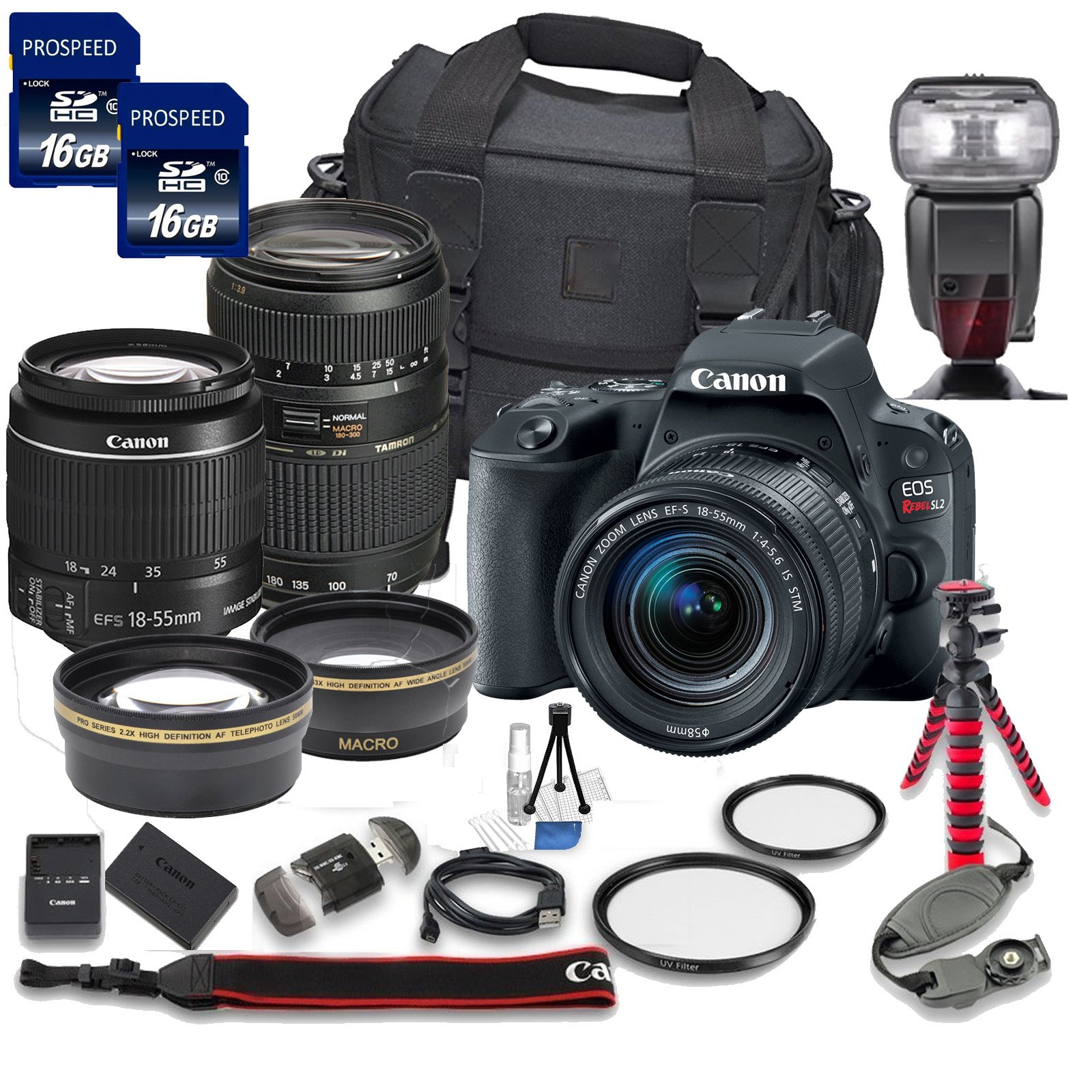 Canon EOS Rebel SL2 DSLR Camera with Canon EF-S 18-55mm f/4-5.6 IS STM Lens + Tamron 70-300mm f/4-5.6 Di LD Lens + 2 Aux Lenses + 2 Pcs 16GB Memory Card + Premium Accessories Bundle (18 Items) by Canon