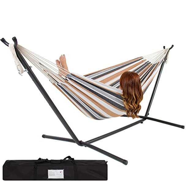 amazoncom best choice products double hammock with space saving steel stand includes portable carrying case desert stripe garden u0026 outdoor