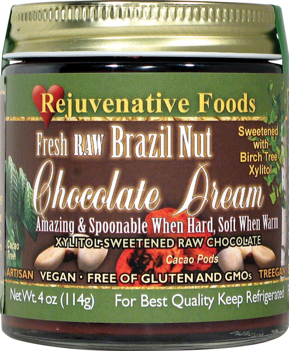 Xylitol-Sweet Organic Raw Chocolate Brazil-Nut Dream Pure Fresh Nutritional Dairy-Free Antioxidants StoneGround white-sugar-free fudge candy-in-glass-jar Minerals Rejuvenative Foods-18 oz by Rejuvenative Foods