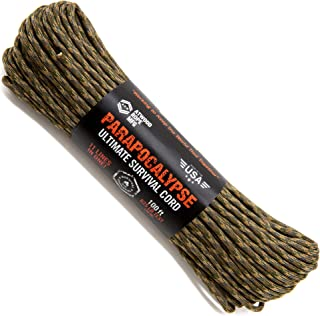 product image for Atwood Rope MFG Parapocalypse Paracord 7-Strand Core with Fire Starter Waxed Jute, 10lb Mono Fishing Line, Dyna-x, and Kevlar Cord 625lb Test (Multi Cam, 100)