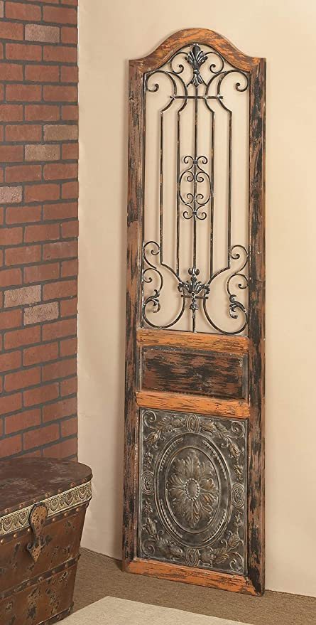 """Deco 11 Rustic Arched Door-Inspired Wood and Metal Wall Decor, 11"""" H x 11""""  L, Distressed Chestnut Brown Finish"""