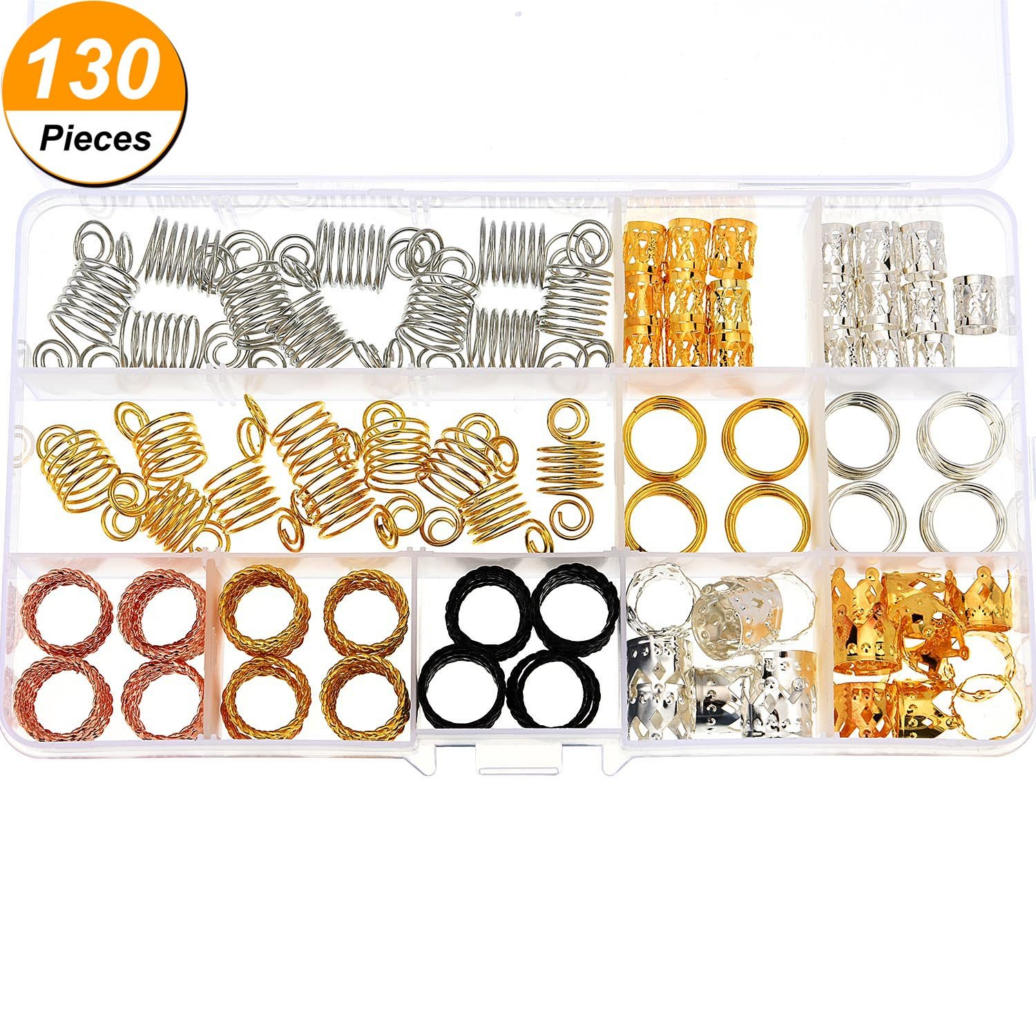 Jetec 130 Pieces Metal Hair Cuffs Hair Braiding Beads Aluminum Dreadlocks Hair Decoration Accessories with Storage Box by Jetec