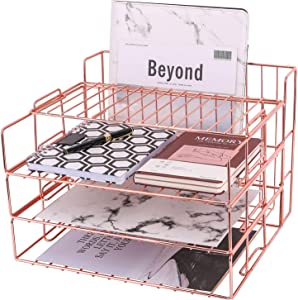 Z PLINRISE Paper Tray, 3 Stackable File Trays Plus Display Shelf and Magazine Holder Basket, Office Desktop Organizer for Mails, Documents, Folders, Books and More, Rose Gold