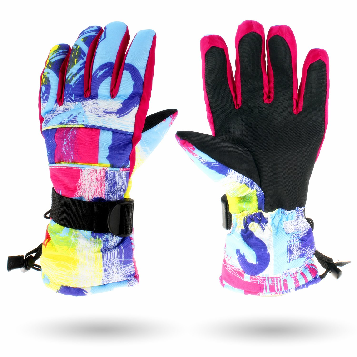 SF.Z Ski Gloves Pink and Blue Graffiti//Small Snowboard Cycling Snowmobile Biking Athletic Gloves Waterproof Windproof Snow Proof Warm Breathable Fashion Comfortable Flexible Gloves for Women