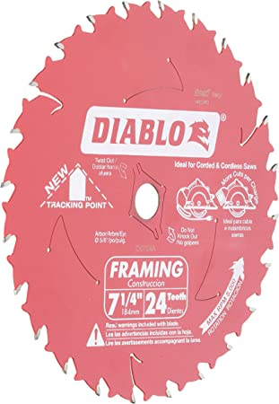 Freud D0724a Diablo 7 1 4 Inch 24 Tooth Atb Framing Saw Blade With 5 8 Inch And Diamond Knockout Arbor Table Saw Blades Amazon Com