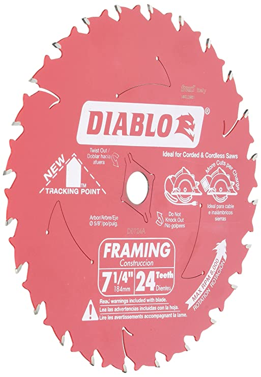 Freud d0724a diablo 7 14 inch 24 tooth atb framing saw blade with 5 freud d0724a diablo 7 14 inch 24 tooth atb framing saw blade with 58 inch and diamond knockout arbor table saw blades amazon greentooth Gallery