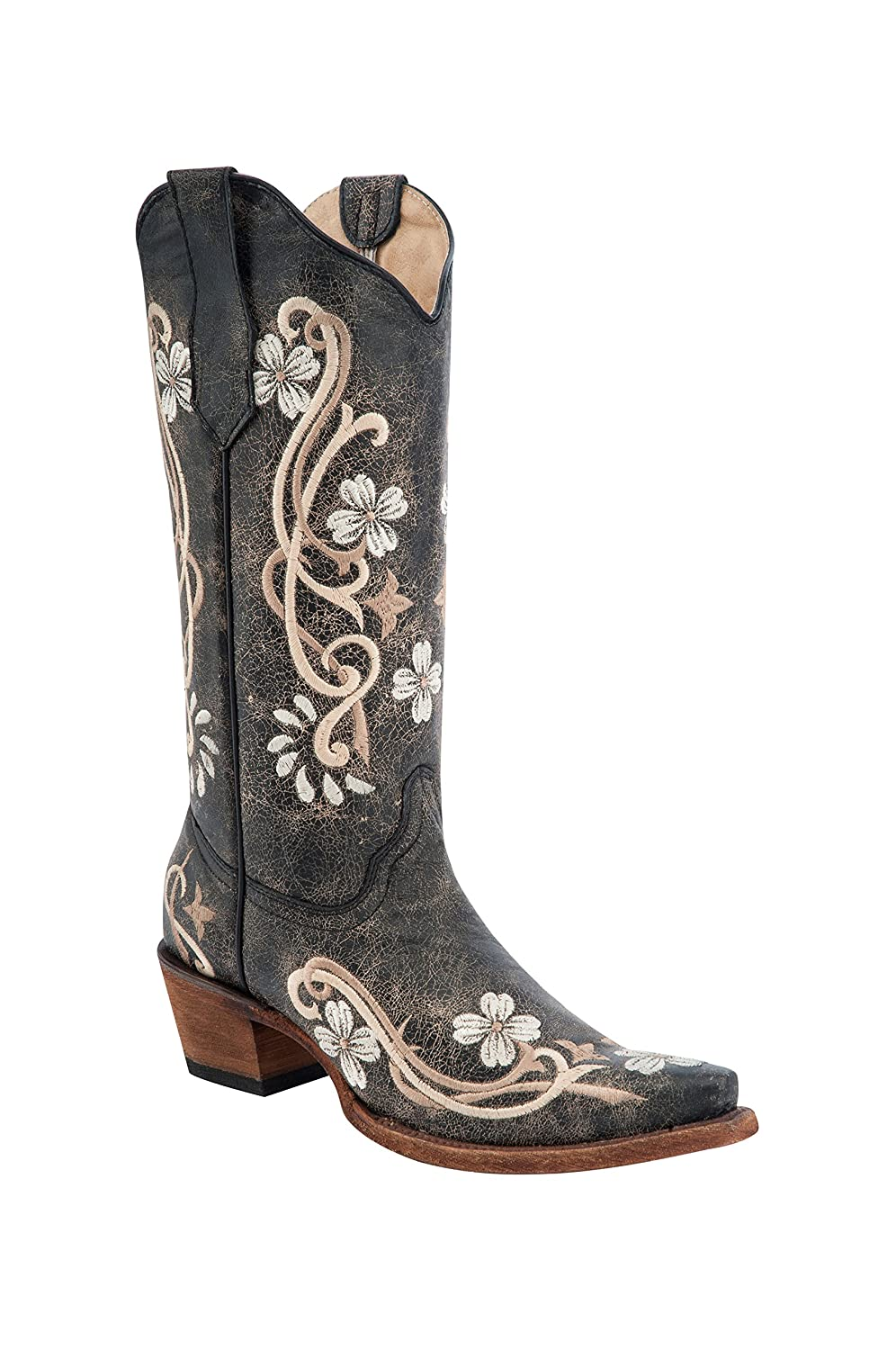 Corral Circle G Women's Multi-Colored Embroidered Genuine Brown Leather Cowgirl Boots B01DQTH9PU 9.5 B(M) US|Black