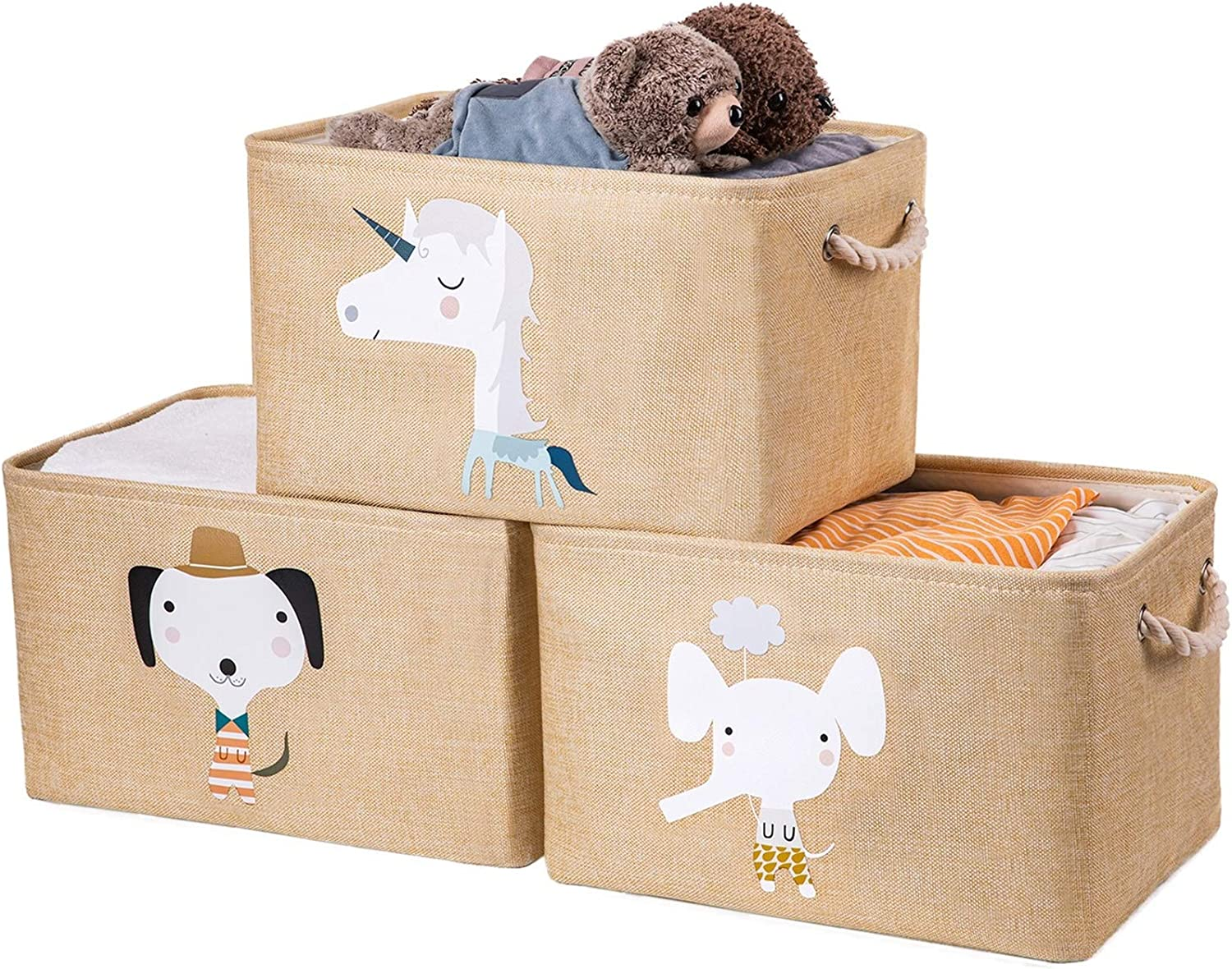 AXHOP Large Foldable Storage Bins with Cotton Rope Handles, Storage Baskets for Shelves, Fabric Storage Cubes for Organizing Shelf Nursery Home Closet & Office, Beige Unicorn 3-Pack Set