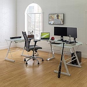 Walker Edison Modern Corner L Shaped Glass Computer Writing Gaming Gamer Command Center Workstation Desk Home Office, 2 Pack, White