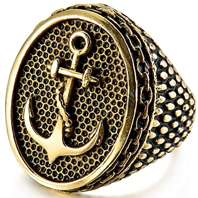MENDINO Mens Jewellery Vintage Grain Bottom Anchor Snake Skin Sword Celtic Knot Irish Claddagh Black Silver Stainless Steel Ring zDWDxy7f