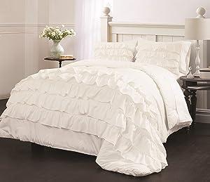 Latitude Ruby Ruffle Comforter Set, Twin, White