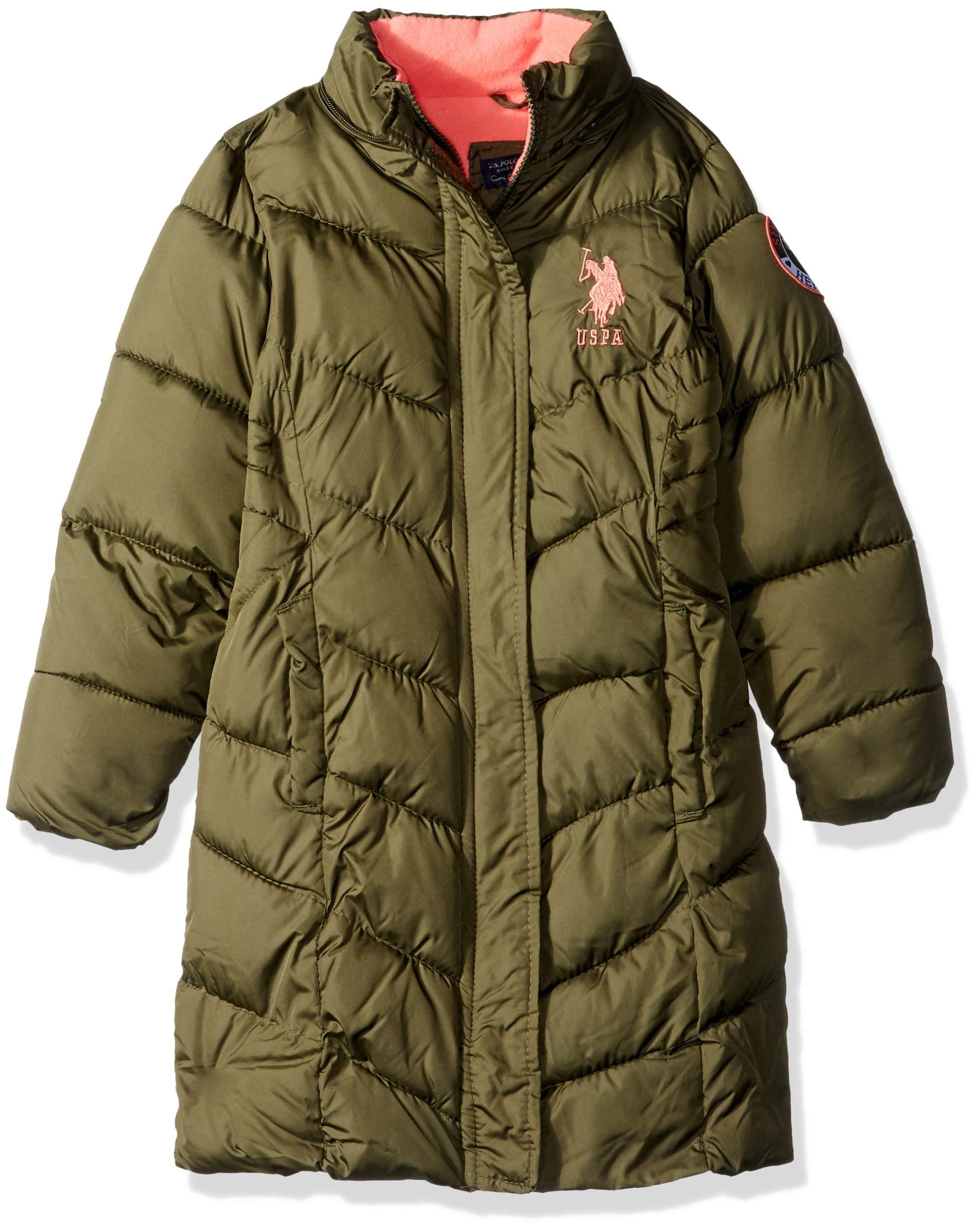 US Polo Association Girls' Big Long Bubble Jacket, Olive, 10/12 by U.S. Polo Assn. (Image #3)