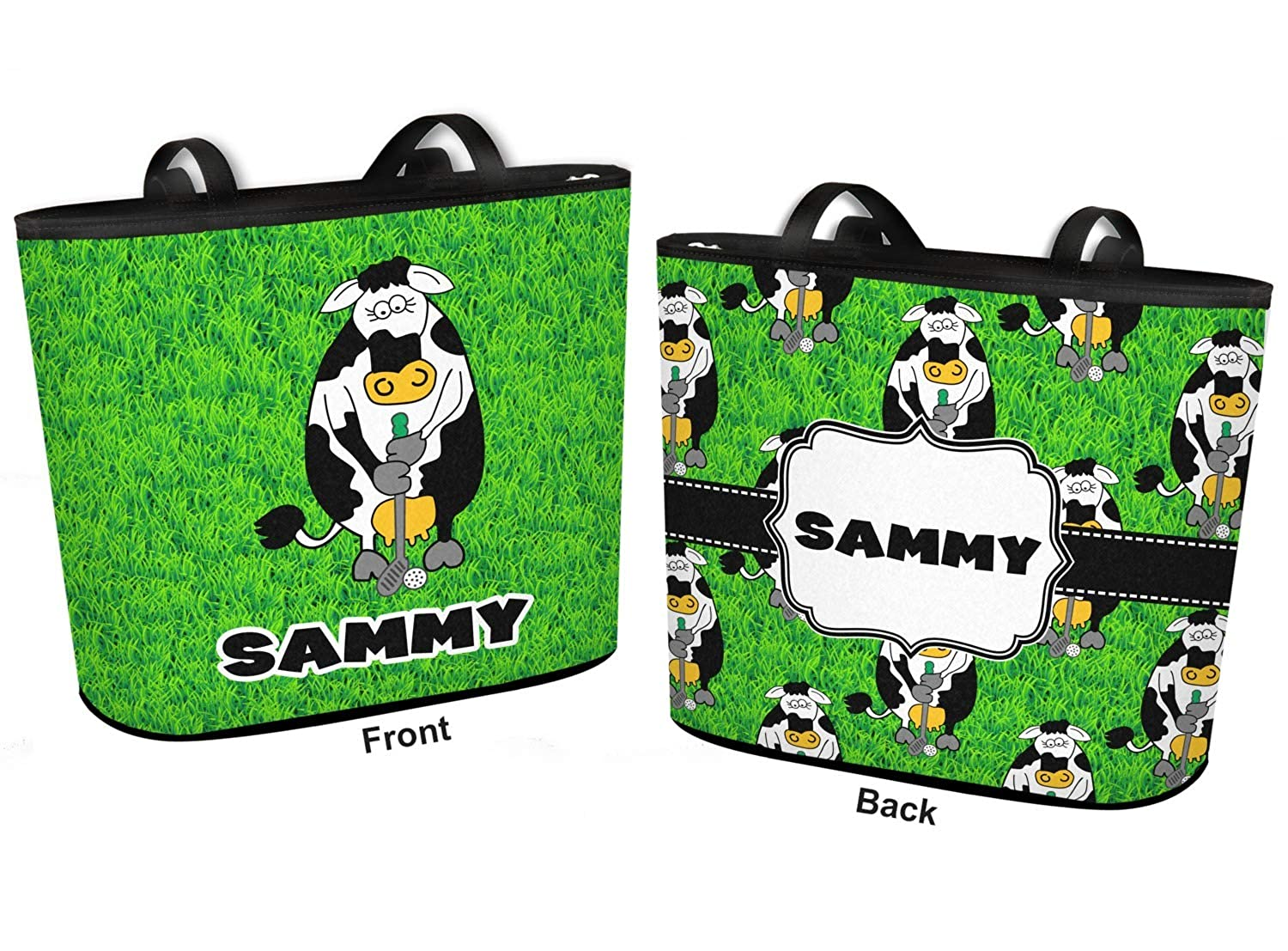 Personalized Cow Golfer Bucket Tote w//Genuine Leather Trim Regular w//Front /& Back Design
