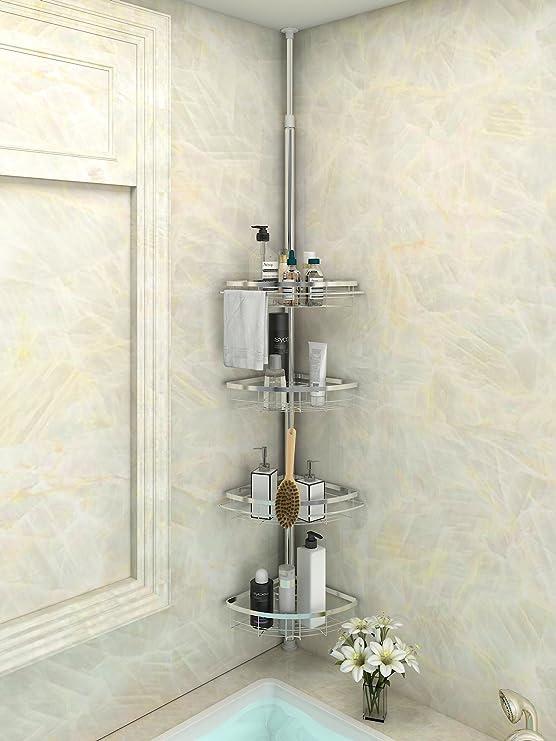 Lifewit Corner Shower Caddy 4 Tier Adjustable Bathroom Constant ...
