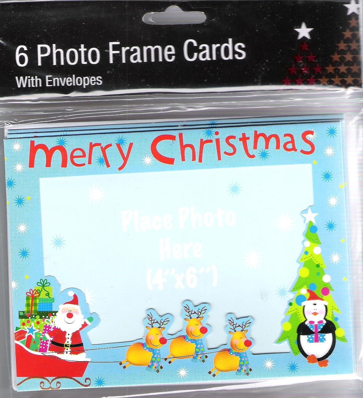 6 Christmas Photo Frame Cards with Envelopes: Amazon.co.uk: Kitchen ...