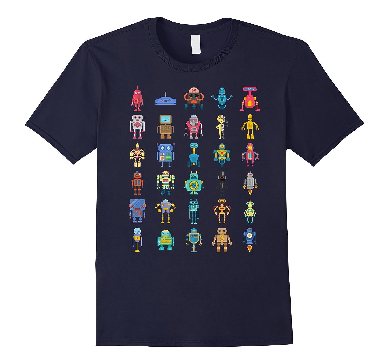 Robot T-Shirt Robotics Retro Team 30 Toy Emoji AI Geek Tee-Vaci