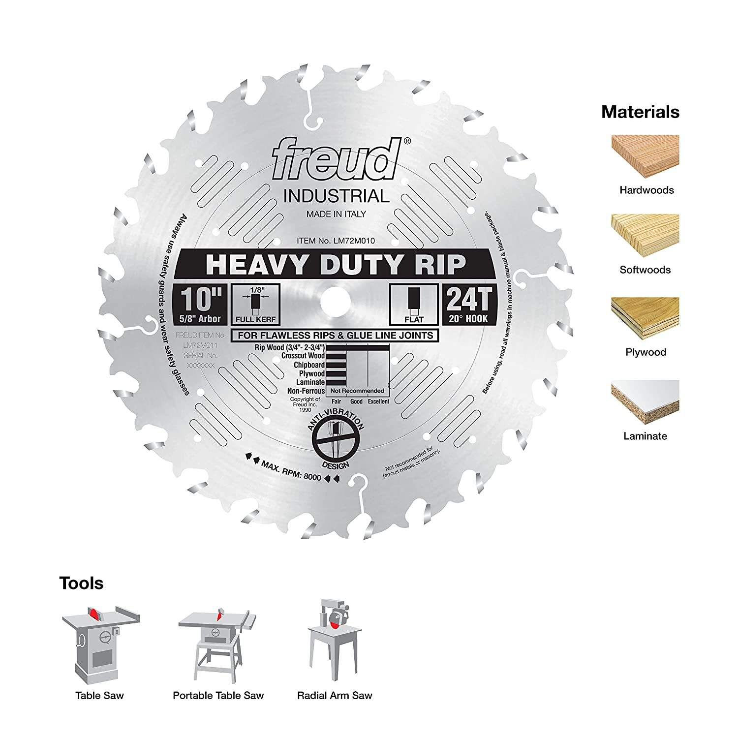 Freud 10 x 24t heavy duty rip blade lm72m010 power saw blades freud 10 x 24t heavy duty rip blade lm72m010 power saw blades amazon keyboard keysfo Images