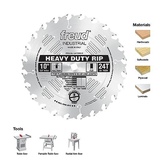 Freud 10 X 24t Heavy Duty Rip Blade Lm72m010 Power Saw Blades