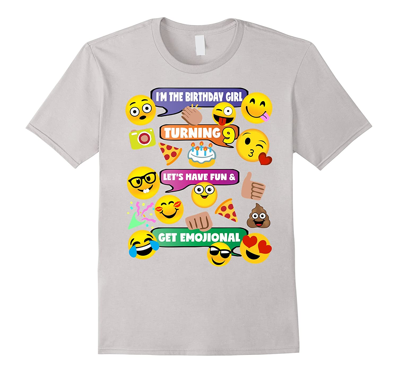 Girls Emoji Birthday Shirt Age 9 Party Theme Outfit
