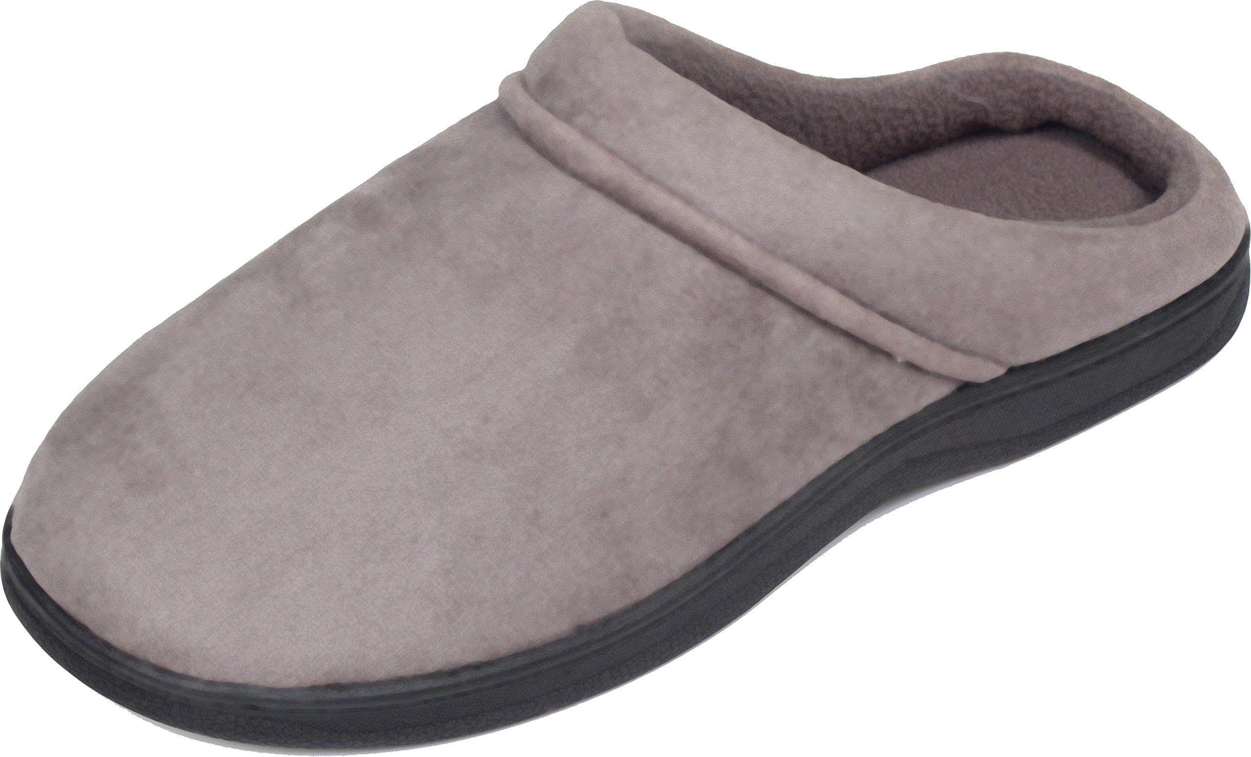 LUXEHOME Men's Slip On Indoor/Outdoor Fleece Scuffs Slipper (8-9 US, Gray)