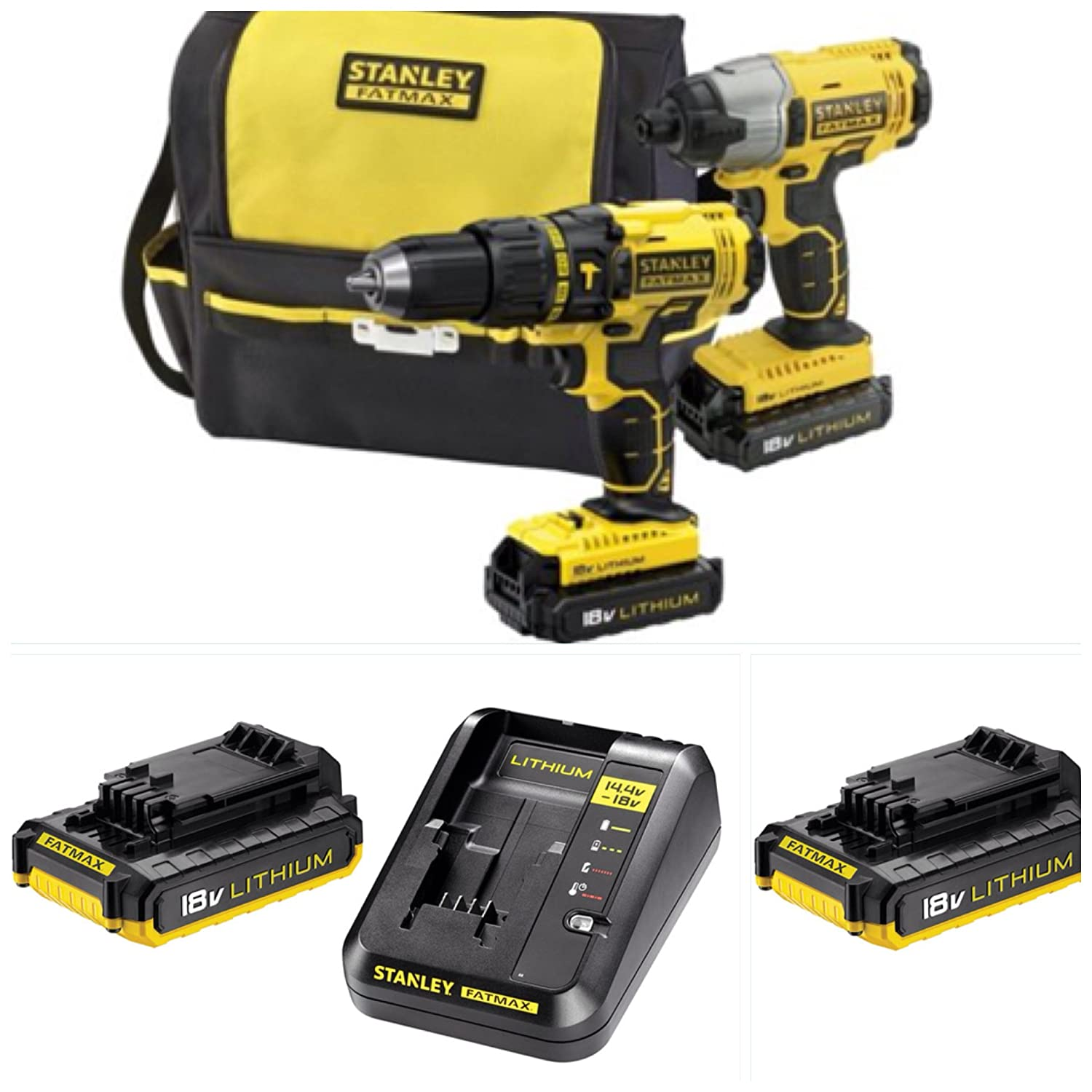 Stanley Fatmax 18v Cordless Twinpack Complete Kit X1 Impact Driver Brushless X1combi Hammer Drill X2 Lithium Batterysfast Charger Tool Bag Diy