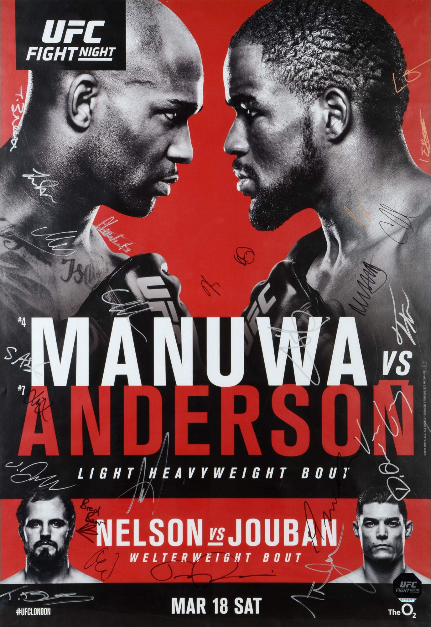 """UFC Fight Night 107 Manuwa vs. Anderson Autographed 27"""" x 39"""" 22 Signature Fight Poster Fanatics Authentic Certified"""