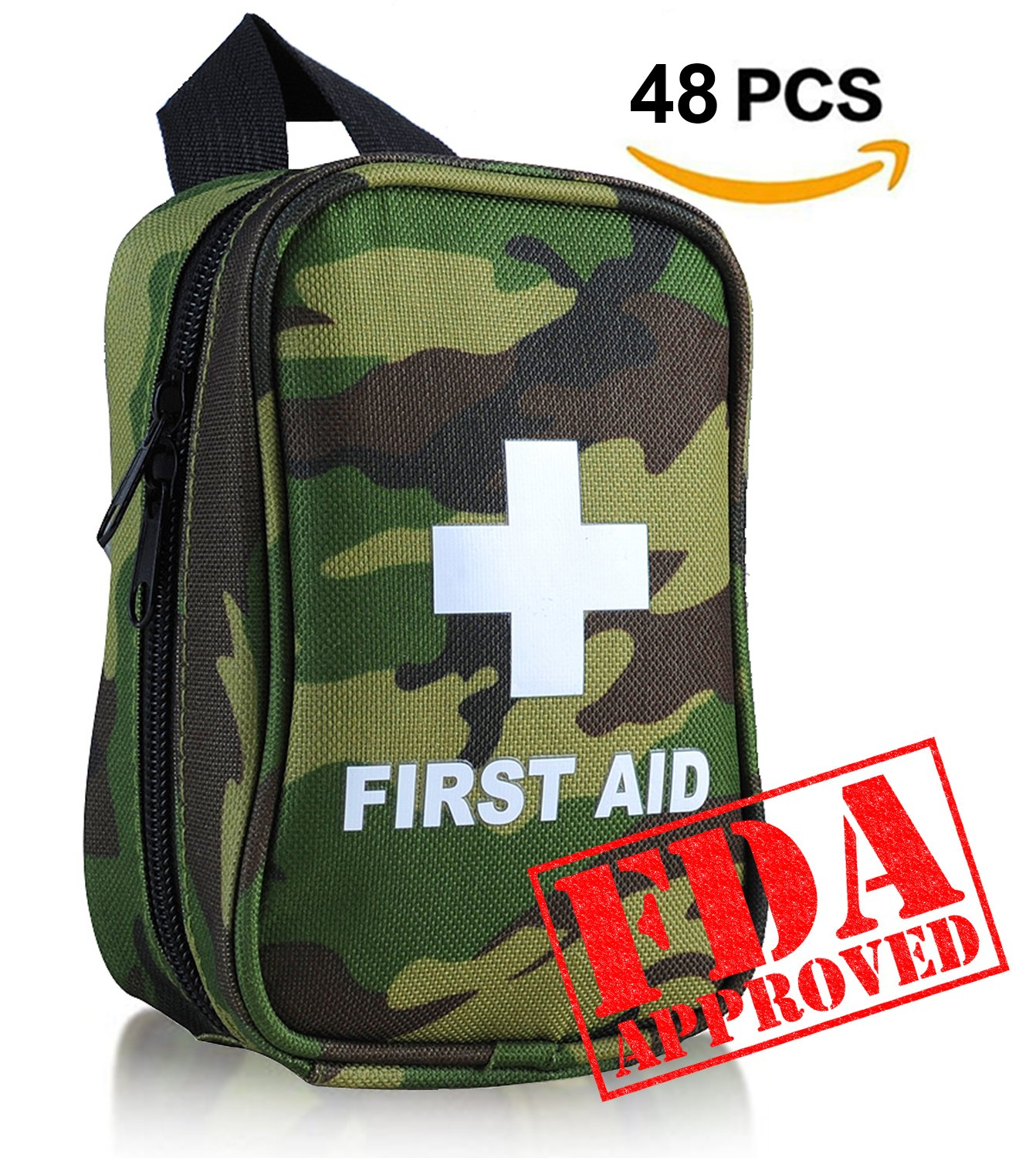 First Aid Kit No Hands Carry Hang on Waist FDA OSHA Small Great Compact First Aid Kit in Emergency for Outdoor Survival Camping Hiking Backpack Biking Travel Sports Car Home Workplace Hunting