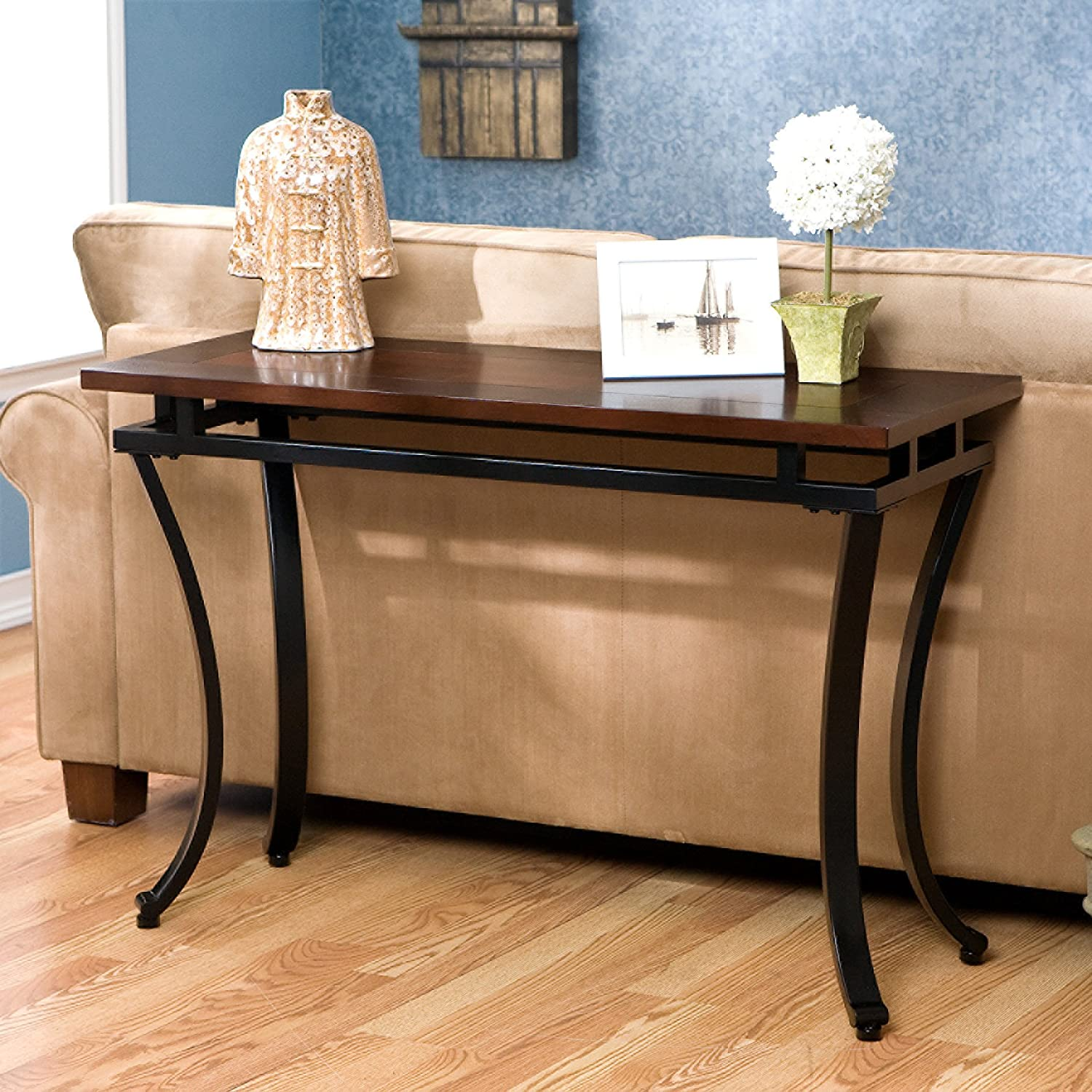 Amazon com accent sofa table black metal with espresso finish wood top kitchen dining