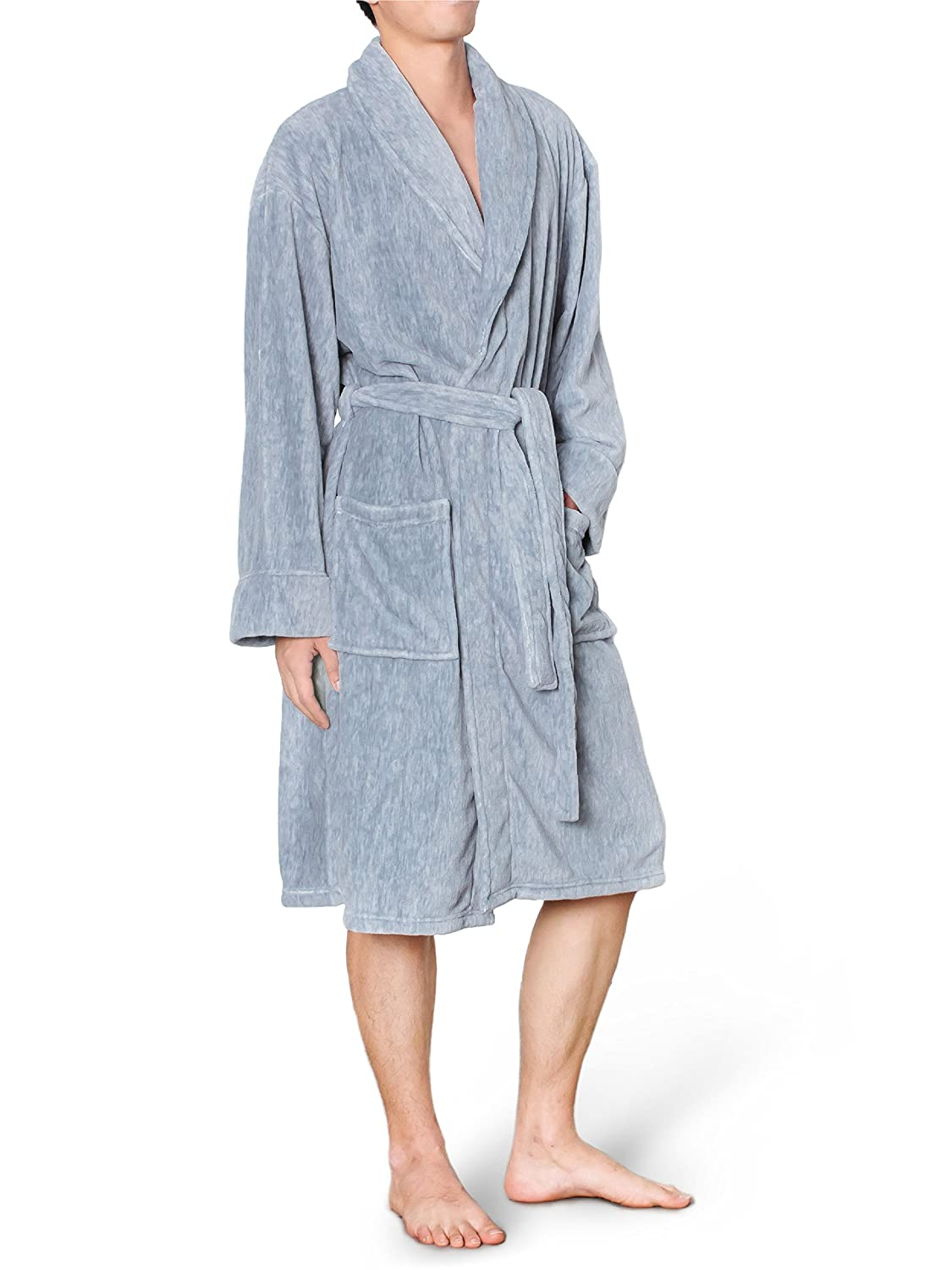 Mens Plush Fleece Robe with Shawl Collar | Soft, Warm, Lightweight Spa Bath Robe PAVILIA