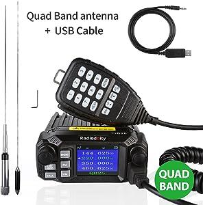 Radioddity QB25 Pro Quad Band Quad-Standby Mobile Ham Amateur Radio Transceiver Car Truck Vehicle Radio, VHF UHF 25W with Cable + 50W High Gain Quad Band Antenna