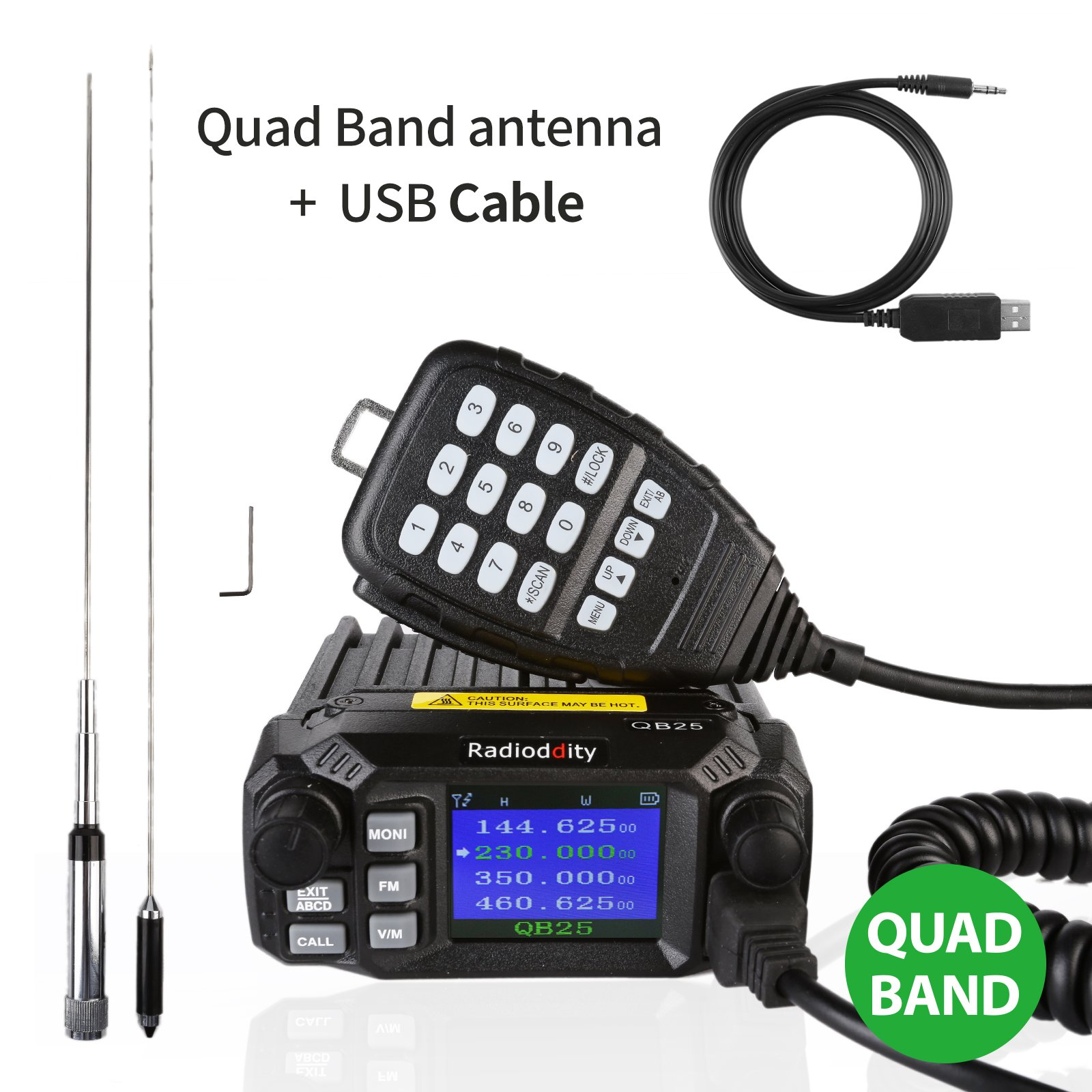 Radioddity QB25 Pro Quad Band Quad-standby Mini Mobile Car Truck Radio, VHF UHF 144/220/350/440 MHz, 25W Vehicle Transceiver with Cable & CD + 50W High Gain Quad Band Antenna