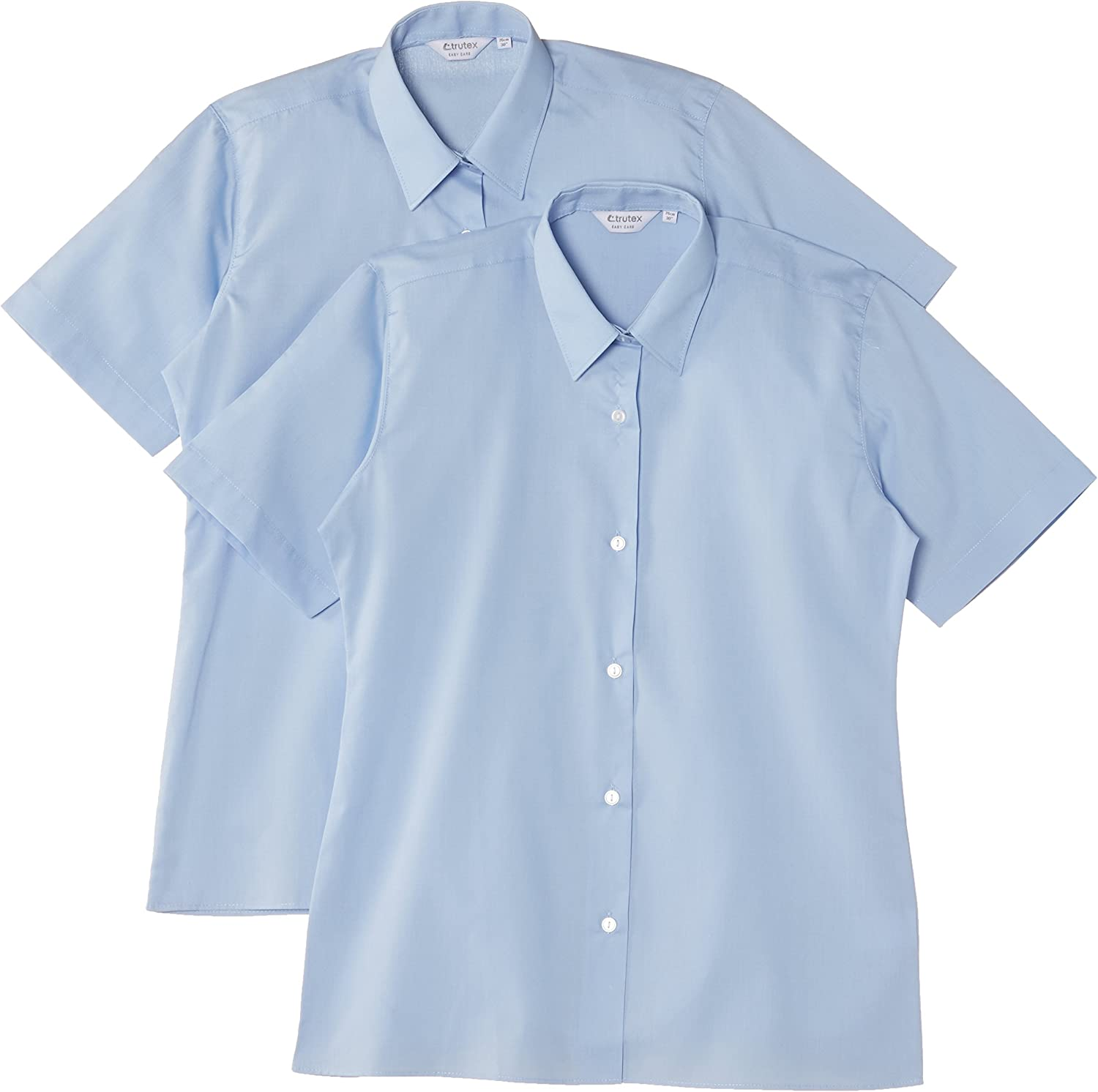 Trutex Limited Girls Short Sleeve Easy Care Plain Blouse pack of 2