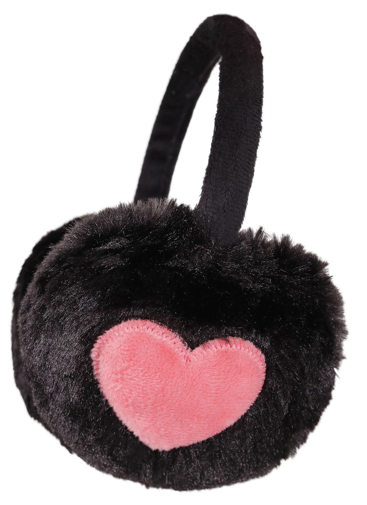 Simplicity Unisex Warm Faux Furry/ Fleece Winter Ear Muffs, Black/ Pink Heart,Heart