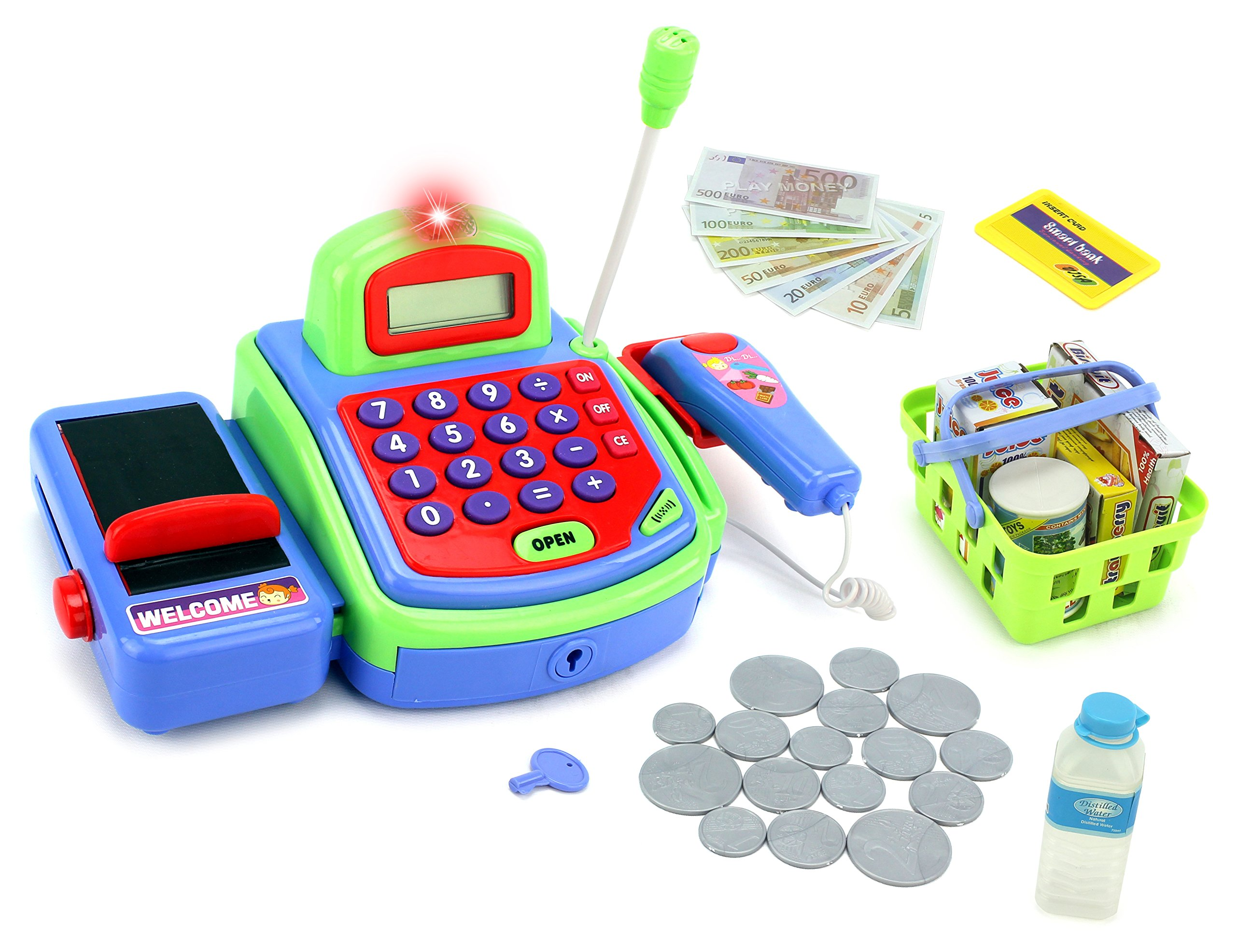 Velocity Toys Pretend Play Electronic Cash Register Toy Realistic Actions & Sounds Green