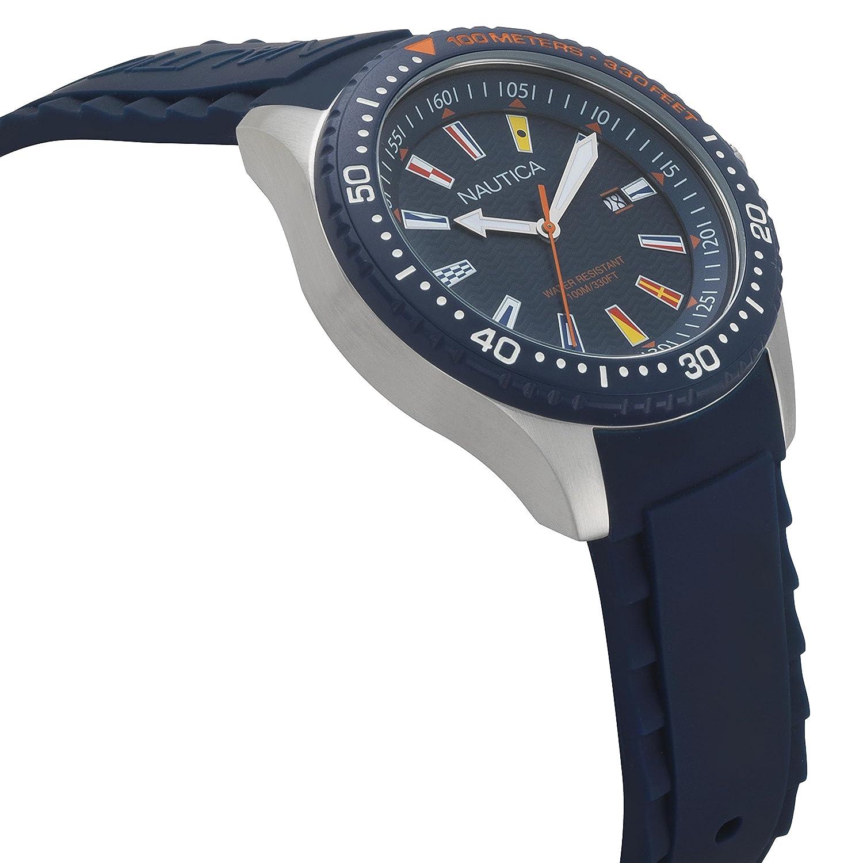 Amazon.com: Nautica Mens Jones Beach Collection Japanese-Quartz Watch with Silicone Strap, Blue, 21.5 (Model: NAPJBC002: Nautica: Watches