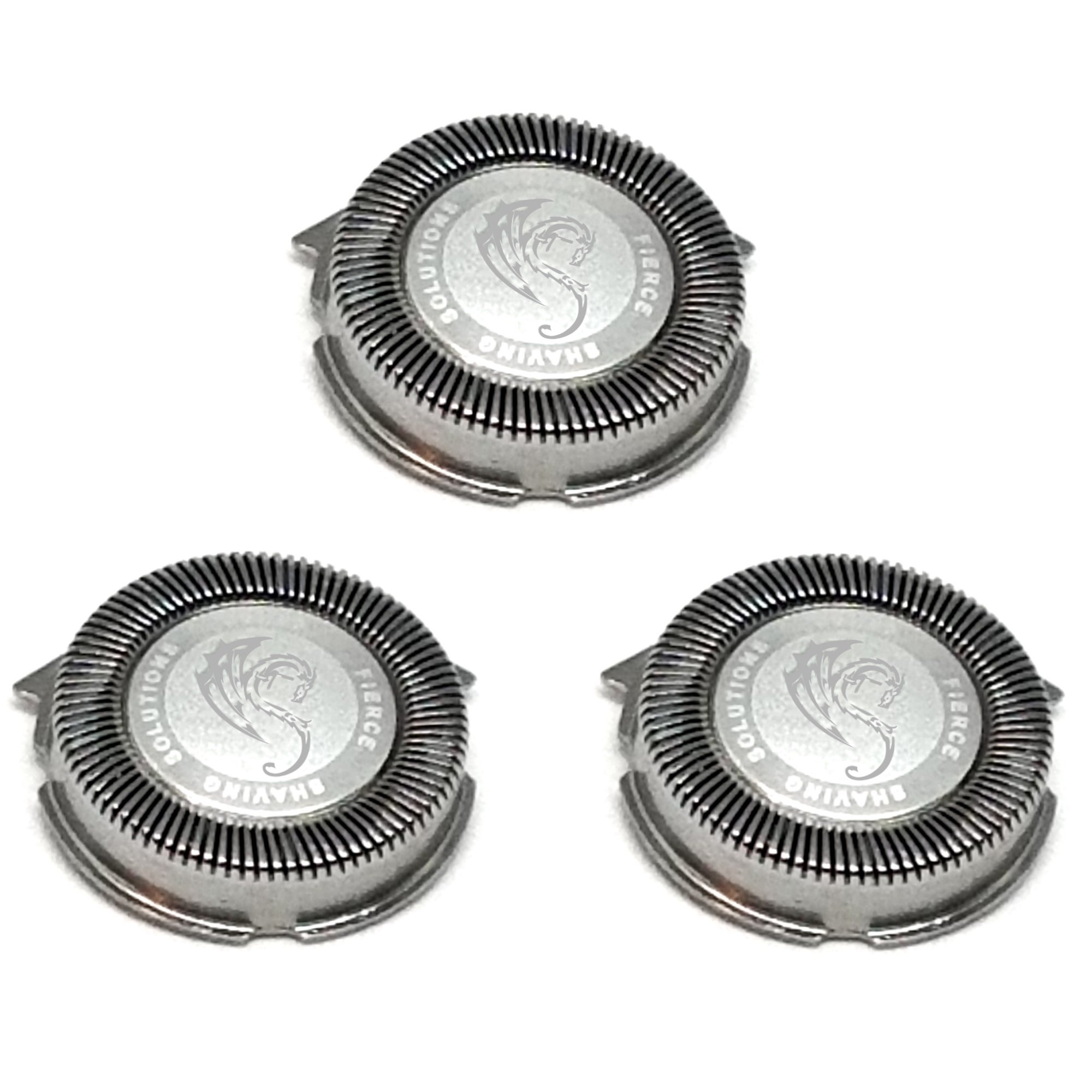 SH50/52 Replacement Heads Set of 3 Dual Precision Silver Dragon Universal Cooling Surface Blades for Philips Norelco Compatible Electric Shaver Series 5000