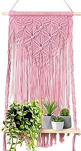 Elami Macrame Wall Hanging Shelf – Macrame Plant Hanger for Bohemian Home Decor – Hand Woven Rope Macrame Shelf for Bedroom, Living Room, Chic Boho Hanging Wall Shelves for Small Plants.