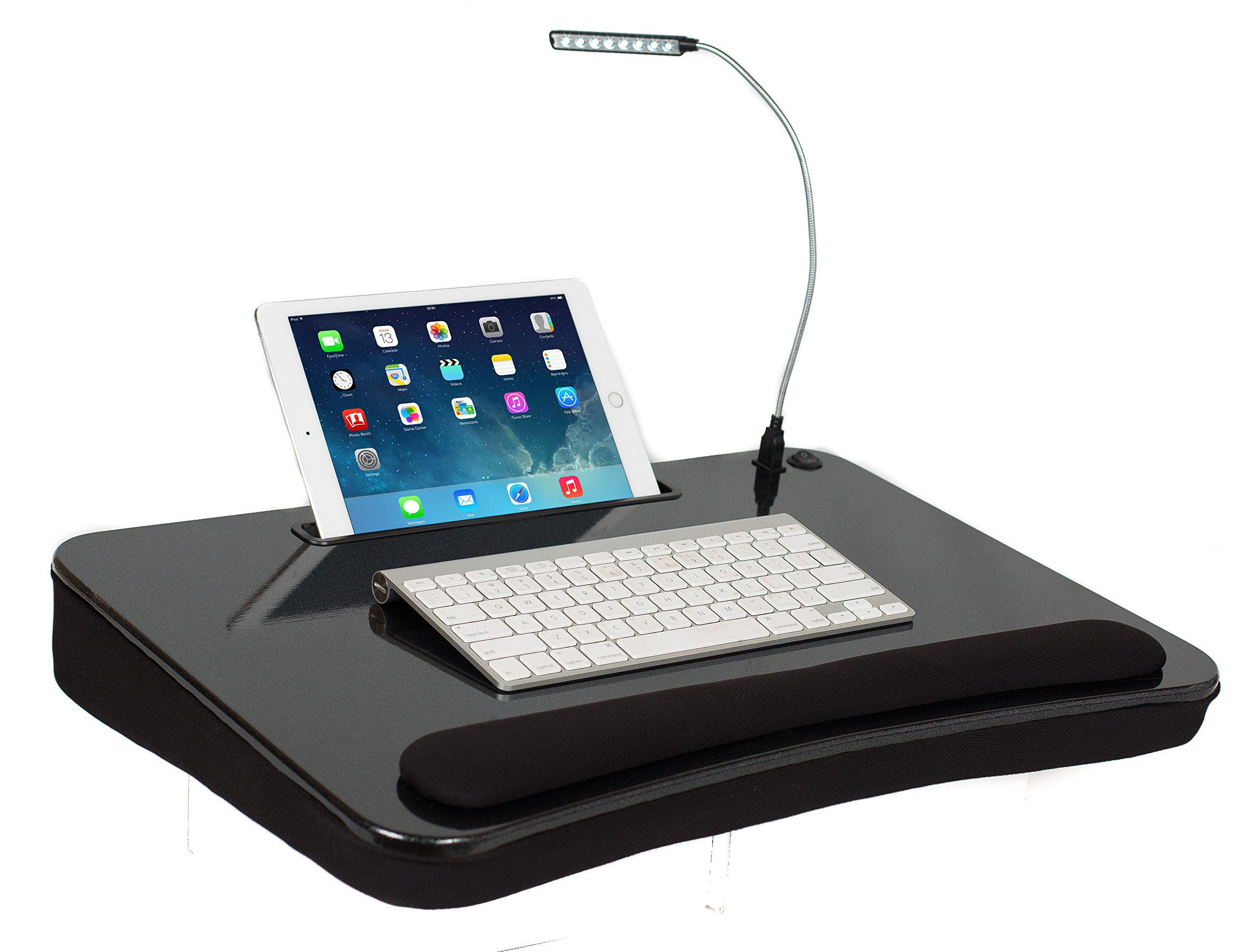 Sofia & Sam XLG Deluxe Lap Desk with Tablet Slot (With USB Light, Black)