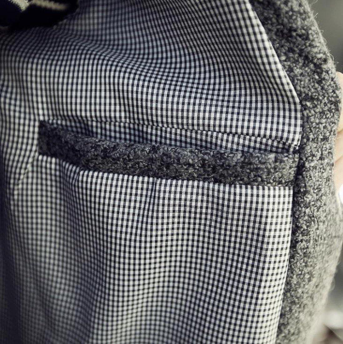 VITryst-Men Notch Lapel Wool Warm Fall Winter Lounge Overcoat