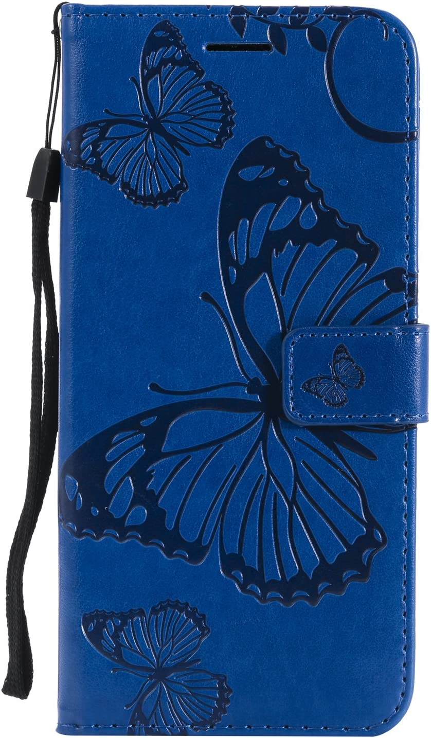 Orange Amocase Wallet Leather Case with 2 in 1 Stylus for Samsung Galaxy S8 Plus,Premium Strap 3D Butterfly Magnetic PU Leather Stand Shockproof Card Slot Case for Samsung Galaxy S8 Plus