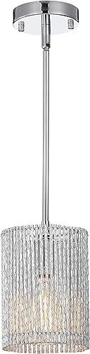 PAPAYA Mini Pendant Lights 1-Light Modern Ceiling Light Fixture Cylinder Chrome Chandelier