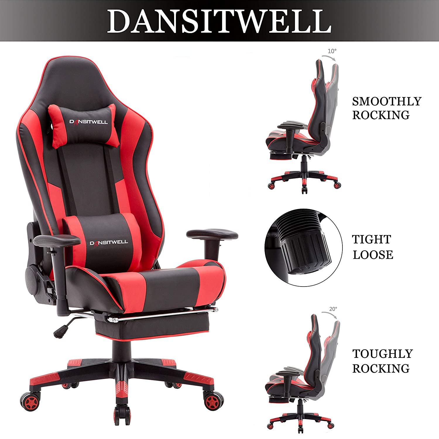 Awe Inspiring Dansitwell Gaming Chairs For Adults Ergonomic Adjustable Racing Chair With Footrest High Back Computer Chair With Headrest And Lumbar Support Red Squirreltailoven Fun Painted Chair Ideas Images Squirreltailovenorg