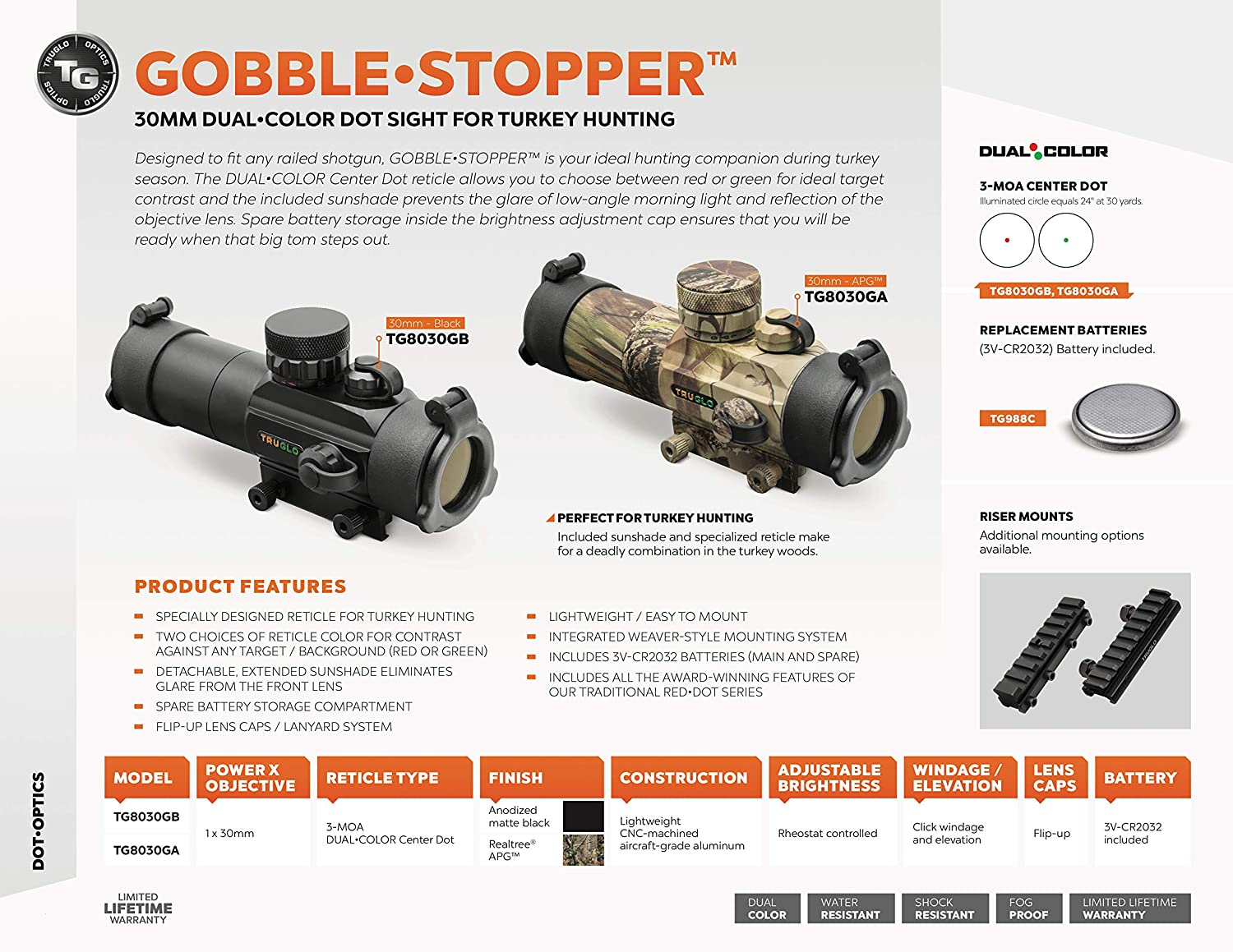 Truglo Red-Dot Sight 30mm Gobble-Dot Dual-Color Black