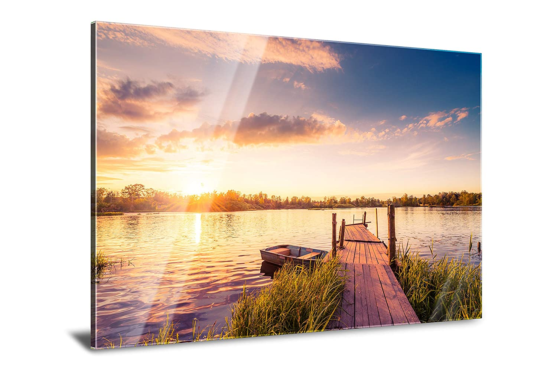 PMP 4life. XXL Poster für Ihr Zuhause, Wanddeko für das Wohnzimmer Schlafzimmer Küche usw. (Acrylglas | 120 cm x 85 cm, Steg mit Boot)