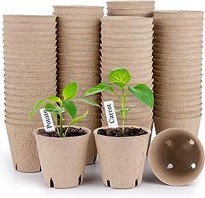 HOMENOTE Peat Pots, 100Pcs 3.15 Inch Seed Starting Pots with Drainage Holes Round Nursery Pot, Biodegradable Plants Pots with Bonus 20 Plant Labels