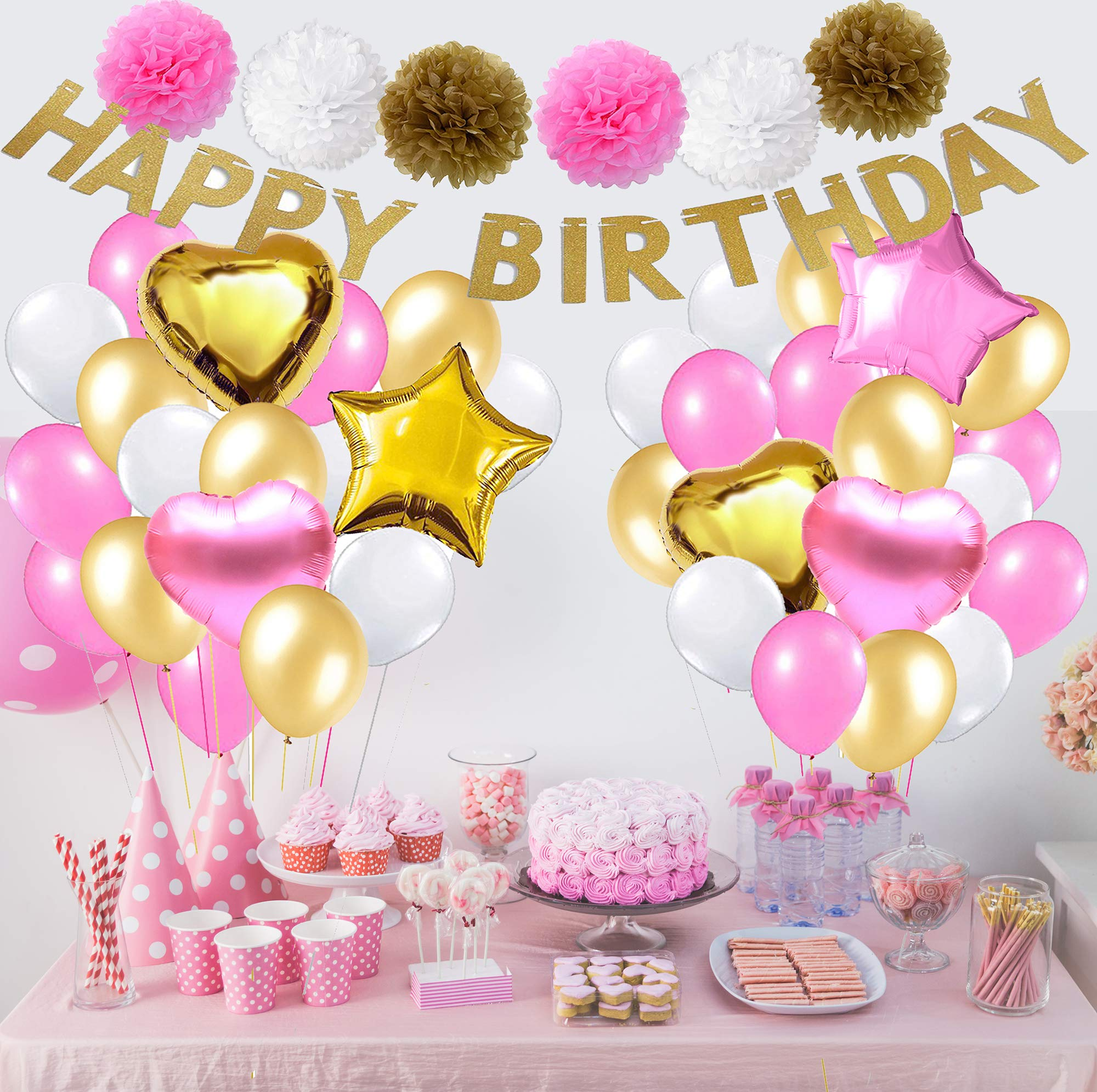 Scapa Pro Birthday Decorations for Girls Pink and Gold | 44-PC All-in-One Kit, Happy Birthday Banner; 30 Pink Gold White Balloons, 6 Foil Balloons, 6 Pom Poms & Unicorn Headband